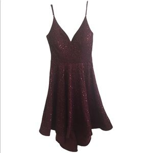 Honey and Rosie Burgundy Sparkly Sequin Cocktail Party Dress